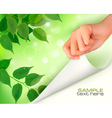 nature green background with hand vector image