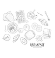 Breakfast Food Isolated Drawings Set Hand Drawn vector image