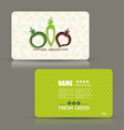 Card set eco design organic foods shop or vegan vector image