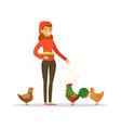 farmer woman feeding chickens poultry breeding vector image