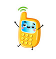 funny mobile phone cartoon character vector image