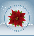 merry christmas card cute red poinsettia snow tree vector image