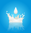Milk Splash Crown with Droplet and Reflection vector image