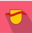 Yellow shield with red ribbon icon flat style vector image