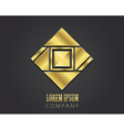 Golden symbol with square for your company vector image