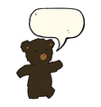 Cartoon black bear with speech bubble vector image