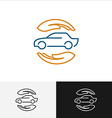 Car insurance logo with care hands around vector image