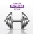 Fitness background with metal realistic dumbbell vector image