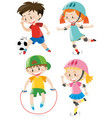 four kids doing different sports vector image