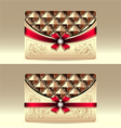 Gift cards with geometric pattern red bow ribbon vector image