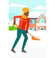 Woman shoveling and removing snow vector image
