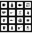 Kitchen utensil icons set simple style vector image