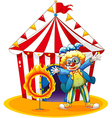 A circus tent at the back of the clown with a ring vector image