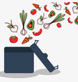 vegetables and fruits inside of pot cook icon vector image