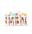 teenage girls online cartoon poster vector image