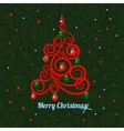 Merry Christmas vintage card tree with confetti vector image