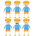 Boy with different faces and emotions vector image