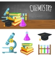 Chemistry backdrop and icons vector image