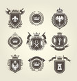 Coat of arms and knight blazons - heraldic shields vector image