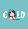 sick girl with the symptoms of a cold and flu vector image