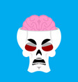 skull and brain angry emoji skeleton head grumpy vector image