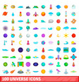 100 universe icons set cartoon style vector image