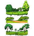 Nature scenes with trees and fields vector image
