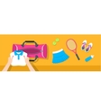 Woman puts tennis stuff into sport bag banner vector image