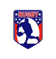 rugby player passing ball shield vector image vector image