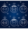 Christmas decorations - chalk balls faces vector image