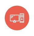 CPU and monitor thin line icon vector image