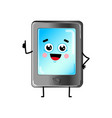 funny tablet pc cartoon character vector image