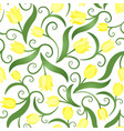 seamless pattern with yellow tulips vector image