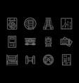 urban subway flat line icons set vector image