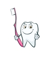 Tooth smiling cartoon character with toothbrush vector image