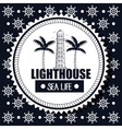 lighthouse sea life background steer graphic vector image