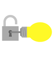 Light bulb with key and open padlock vector image