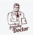 doctor portrait retro emblem stylized sketch of vector image vector image