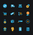 flat colorful shop icons on black vector image