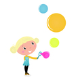 little girl blowing bubles vector image vector image