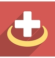 Medical Community Flat Square Icon with Long vector image