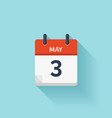 May 3 flat daily calendar icon Date and vector image