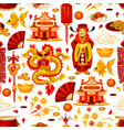 chinese lunar new year symbols pattern vector image
