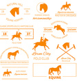 Horse label set vector image