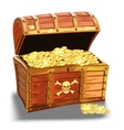 Wooden pirate chest with golden coin vector image