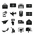 poste service icons set simple style vector image
