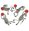 basketball game set with doodle cute zebra player vector image