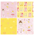 Cute Balerina Background Set - 4 Seamless Pattern vector image