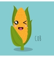 cartoon cob food facial expression design isolated vector image