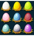 Cartoon funny colored birds Eggs in nest of twigs vector image
